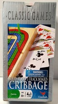 NEW Solid Wood Cribbage Set Folding 3 Track Board with Playing Cards Car... - $12.99