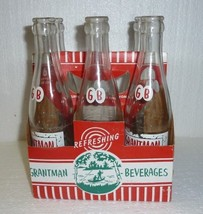 Vintage lot of 6 Grantman Beverages Antigo Wisconsin Soda Bottle with Box - $24.18