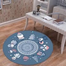 3D Christmas Xmas Cute Blue 21 Non Slip Rug Mat Room Mat Round Elegant Carpet UK - $106.33+