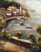 Italian Harbor by Peter Bell Mediterranean Seascape Village Boats Canvas 24x23 - $246.51