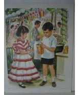 Mexican Children Eating Churros at Carnival - Art Print - David C. Cook ... - $10.24
