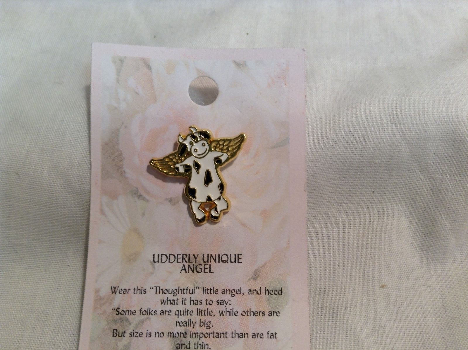 NEW Cats Meow Udderly Unique Cow Angel Pin w Gold Outline