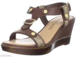Au Naturel Sabette Platform Strappy Sandal in Luggage Brown/ Gold 9 M NIB - $29.69