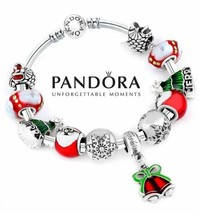 Authentic Pandora Bangle Bracelet Silver 925 with 11 charms Christmas Gi... - $84.14