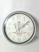 Quartz Wall Clock Diameter 11 inch White Round Kitchen Flatware Theme An... - $12.99