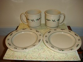 Longaberger Traditional Holly Pottery Set Of 2 Luncheon Plates & Coffee ... - $51.99