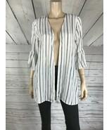 GYPSIES & Moondust White/Black Striped Flare Sleeve Kimono Open Front To... - $6.72