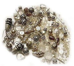 Loose Bead LOT earwires parts kit use as-is or mix match ~ Silver Clear ... - $14.00