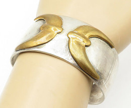 AT MEXICO 925 Silver - Vintage Two Tone Crescent Moon Cuff Bracelet - B5237 - $145.39