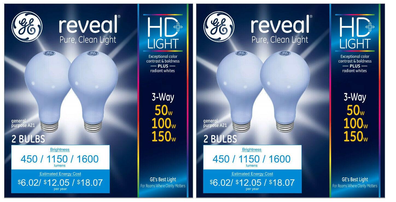4 GE Lighting 3-Way Reveal HD+ Light Bulb 50/100/150-Watt A21 Incandescent NEW