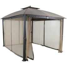 Outdoor Metal Gazebo Patio Aluminum Gazebos Polyester Canopy Brown - $1,267.18