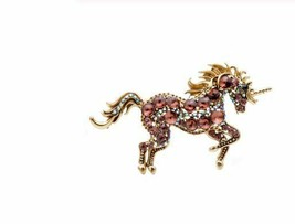 Stunning Vintage Look Gold plated Unicorn Horse Celebrity Brooch Broach Pin F18 - $263.43