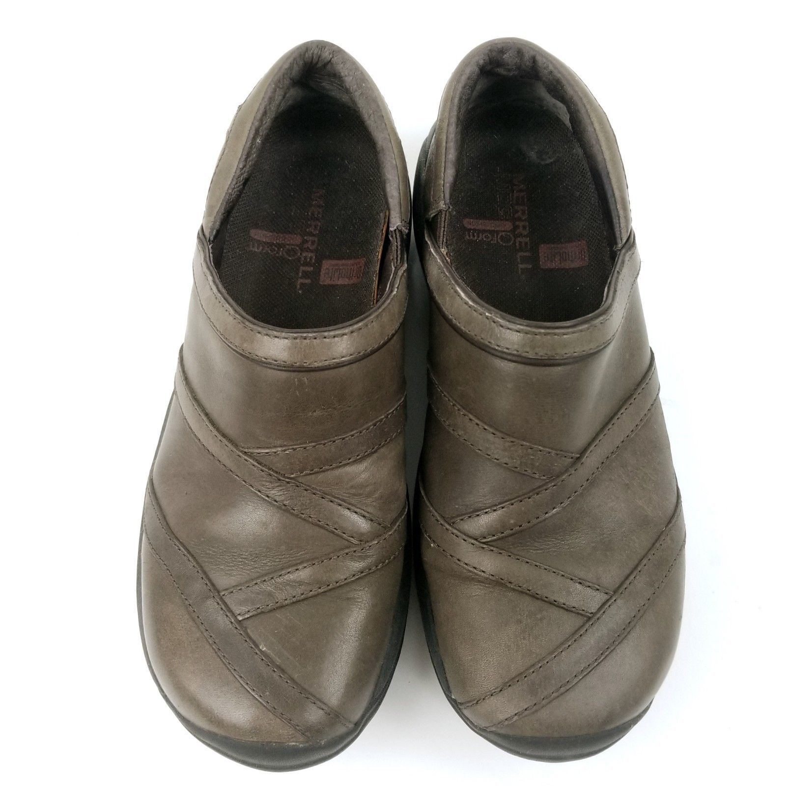 Women Size 6 Merrell Coffee Brown Leather Encore Eclipse Slip On Shoes Loafers