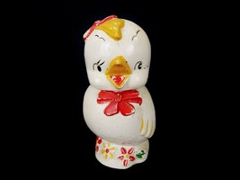 "Vintage Porcelain Cookie Jar, Chicken w/ Red Bow Tie & Hair Ribbon , 12""... - $19.55"