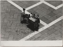 Oversized original 1960s bird's eye view of street vendor art photo - $27.66