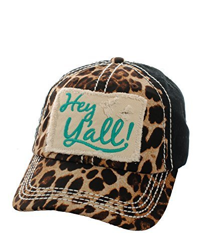 Embroidered Leopard Print Hey Y'all Patch Baseball Hat (Turquoise)