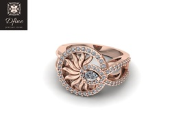 Round Half Carat Natural Diamond Ring Rose Gold Anniversary Ring Gift Free Ship - $1,549.99