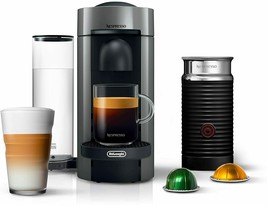 Nespresso VertuoPlus Coffee  Maker Bundle with Aeroccino Milk Frother, Grey - $281.56