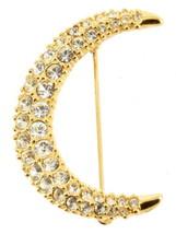 Vintage Swarovski Color Oro & Pave Cristallo Crescent Luna Pin 4.4cm Lungo - $53.98