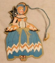 1930s era Woman in Orange & Blue Dress Bunko Tally Card - $14.84