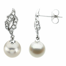 Freshwater Cultured Pearl & Diamond Earrings In 14K White Gold 1/10 ct. tw. - $494.99