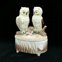 Lefton Owl Bird Porcelain Vintage Hand Painted Trinket Box 05090 with Lid Label - $9.99