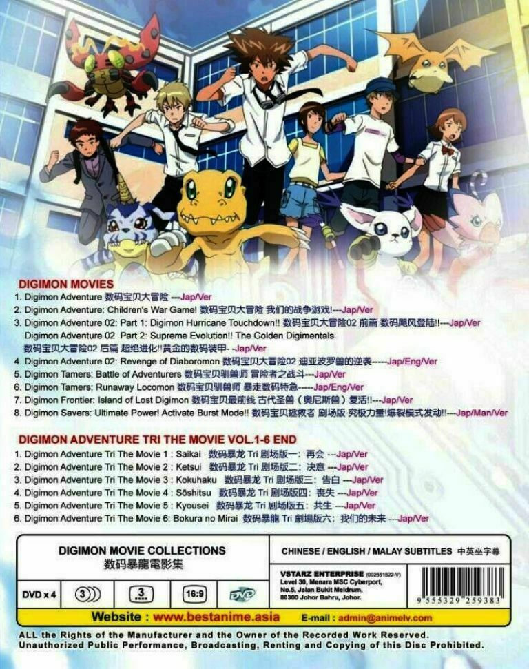 Digimon Movie Collection 8 Movie + Digimon Adventure Tri 1-6 Ship From USA