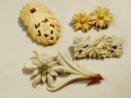 VTG Lot of 4 1930's Daisy Flower White Dress Clip  bar Pin Brooch - $41.58