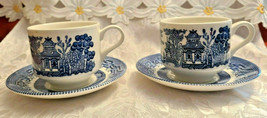 2 Sets Churchill Blue Willow Cup & Saucer Made in England - $6.67
