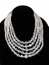 Vintage Aurora Borealis Crystal Necklace Five  Strand 1950S - $119.00