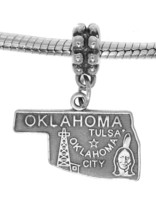 STERLING SILVER TRAVEL STATE MAP OF OKLAHOMA DANGLE EUROPEAN BEAD CHARM - $17.19