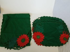 Green & Red Poinsettia Table Mat Placemat Christmas Decor Set - $19.99