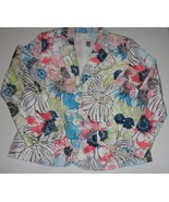 Chicos Floral 100% Silk Embroidered Summer Jacket Multi-Color SZ 1 - $16.99