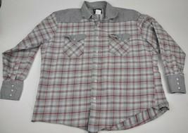 WRANGLER Heavy Cotton Snaps Grey Plaid 2XL Country Western Yoke Shirt XXL - $24.75