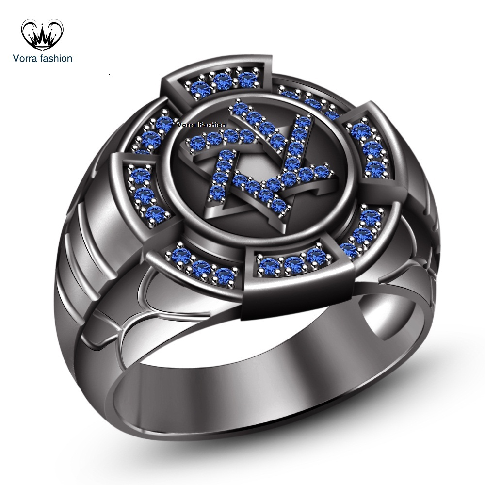 Primary image for Blue Sapphire 14k Black Rhodium Plated 925 Silver Jewish David Men's Star Ring 9