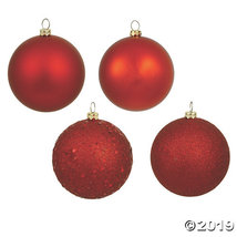 "Vickerman 3"" Christmas Red 4-Finish Ball Christmas Ornament - 32/Box - $44.00"