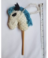 Christmas Tree Ornament Horse made of Fabric Wood Stick Yarn Head pre-ow... - $14.11