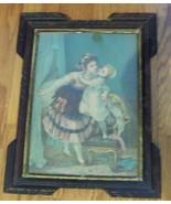 "antique wood frame w/print George Stinson ""The Good NIght Kiss"" 1800's 1... - $45.95"