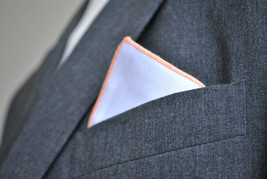Frederick Thomas white pocket square with orange edging handkerchief FT2156