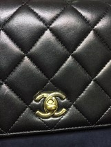 100% Auth Chanel Black Quilted Leather Top Handle Flap Bag GHW image 3