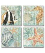 Under the Sea Angel Fish Seahorse Starfish Shell Absorbent Coasters Set ... - $23.99