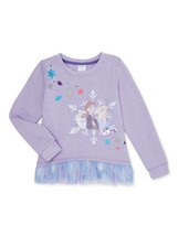 Disney Frozen 2 Elsa Anna Ruffle Long Sleeve Graphic Purple Sweatshirt S... - $11.97