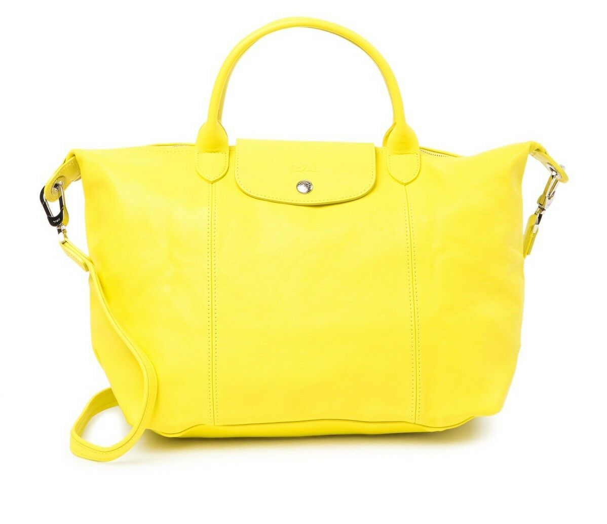 Primary image for NWT LONGCHAMP Le Pliage Cuir Med Leather Crossbody LEMON YELLOW $600+ AUTHENTIC!