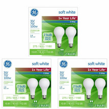 GE 6 PK 30 / 70 / 100 W Life Soft White Light Bulb 3 Way Incandescent - $14.69
