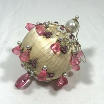 Vintage 60s/70s Satin Ivory White Pink Beaded Sequins Christmas Ornament... - $27.55