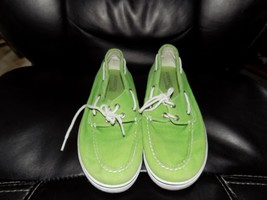 Sperry Top Sider  Green Canvas Boat Shoes Size 6M Women's EUC - $32.40