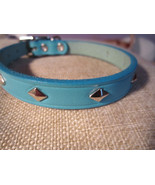 """real leather dog collar light blue / studded / made in USA 11.5"""" to 13.5"""" - $18.00"""