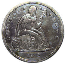 1842 Seated Liberty Silver Dollar $1 Coin Lot# MZ 2648