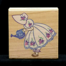 Stampendous Mary Mary Quite Contrary Garden Girl Watering Can Rubber Stamp F060 - $15.99