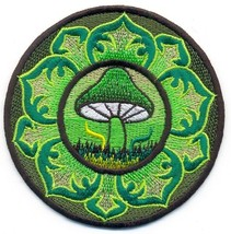 Green mushroom lotus hippie applique embroidered applique iron-on patch ... - $3.16